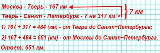 24. Между Москвой и Санкт−Петербургом расположен город Тверь. От Москвы до Твери по железной дороге 167 км. Это на 317 км меньше, чем от Твери до Санкт−Петербурга.Составь, используя эти данные, различные задачи и реши их