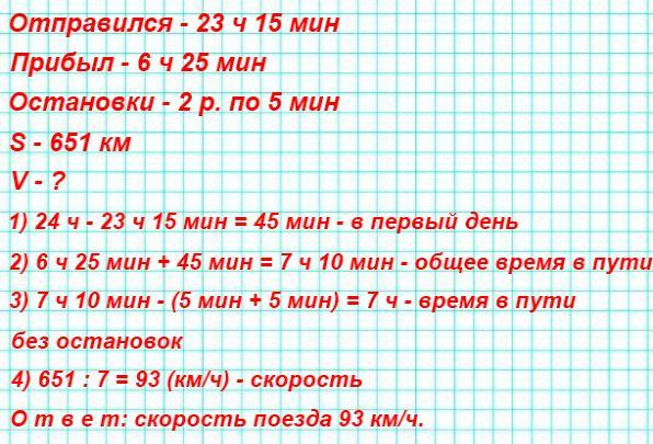 312. Поезд отправился из Санкт-Петербурга в 23 ч 15 мин и прибыл в Москву в 6 ч 25 мин следующего дня. По пути он сделал 2 остановки: на станции Бологое и в городе Твери, по 5 мин каждая. С какой скоростью двигался этот поезд, если он прошёл 651 км?