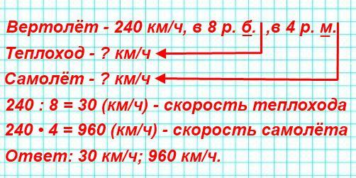 Скорость вертолёта 240 км/ч. Это в 8 раз больше скорости теплохода и в 4 раза меньше скорости самолета. Найди скорость теплохода; скорость самолёта.