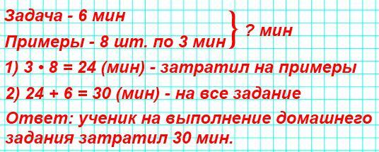 Ученик затратил на решение задачи 6 мин, а на решение каждого из 8 примеров по 3 мин. Сколько всего времени затратил ученик на выполнение этого домашнего задания