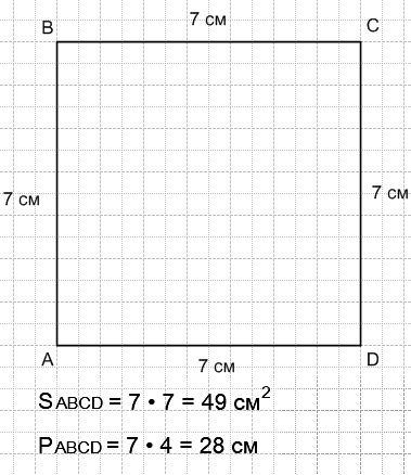 Начерти квадрат ABCD, длина стороны которого 7 см. Найди площадь и периметр этого квадрата.