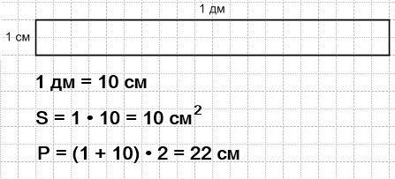 Начерти прямоугольник со сторонами 1 дм и 1 см. Найди его площадь и периметр
