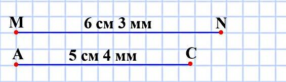 Начертите отрезки MN и АС так, чтобы MN = 6 см 3 мм, АС = 5 см 4 мм.