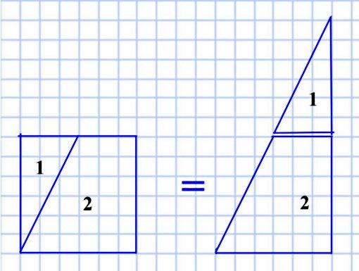 Как надо разрезать квадрат на треугольник и четырёхугольник, чтобы из них можно было сложить треугольник