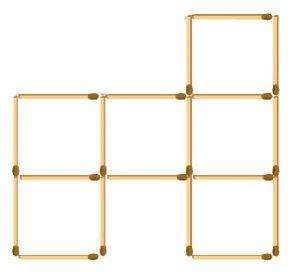 2) Сложите из 19 спичек шесть квадратов.