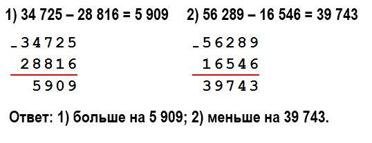 На сколько: 1) число 34 725 больше, чем число 28 816; 2) число 16 546 меньше, чем число 56 289