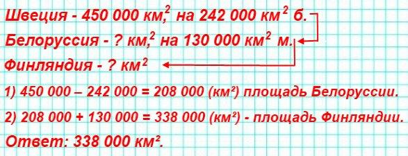 Площадь Швеции равна 450 000 км, что на 242 000 км² больше площади Белоруссии, которая на 130 000 км меньше площади Финляндии. Сколько квадратных километров составляет площадь Финляндии