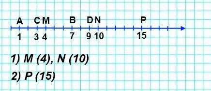 Начертите координатный луч и отметьте на нём точки А (1), В (7), С (3), D (9)