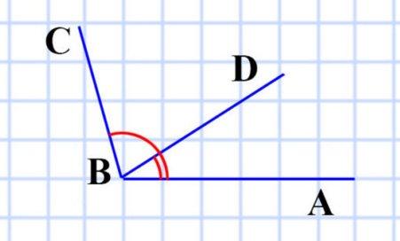 Начертите угол ABC, равный 106°. Лучом BD разделите этот угол на два угла так, чтобы ABD = 34. Вычислите величину угла DBC