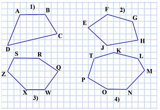 Начертите: 1) четырёхугольник; 2) пятиугольник; 3) шестиугольник; 4) семиугольник