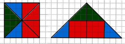 Начертите такие фигуры. Большой треугольник составлен из частей, на которые разделен большой квадрат. Раскрась одним цветом одинаковые фигуры на обоих рисунках
