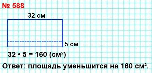 Длина прямоугольника равна 32 см. На сколько квадратных сантиметров уменьшится площадь этого прямоугольника, если его ширину уменьшить на 5 см