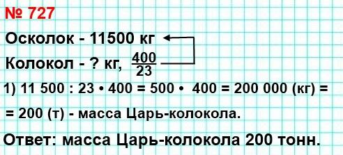 727. Масса осколка Царь-колокола равна 11 500 кг.Масса царь-колокола составляет - 400/23 массыэтого осколка. Найдите массу Царь-колокола.