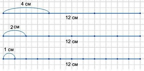173. Начерти отрезок длиной 12 см и узнай: 1) сколько сантиметров в одной третьей части отрезка; в одной шестой; в одной двенадцатой;