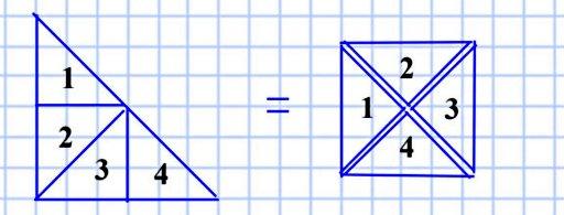 375. Как надо разрезать равнобедренный прямоугольный треугольник на четыре равные части, чтобы из них можно было сложить квадрат?