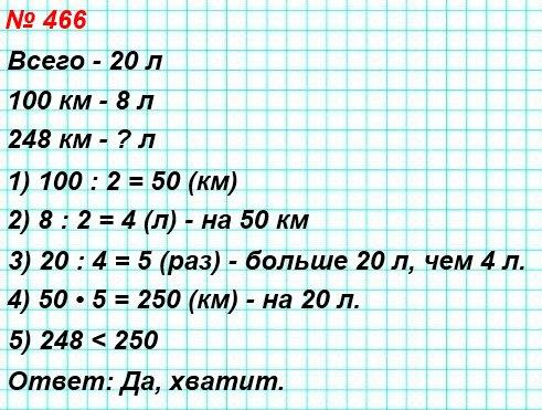 466. Автомобиль расходует 8 л бензина на 100 км пути. Хватит ли 20 л бензина, чтобы доехать из Рязани до Владимира, расстояние между которыми по трассе равно 248 км?