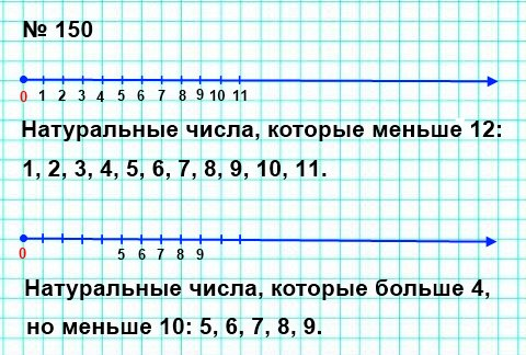 150. Отметьте на координатном луче все натуральные числа, которые: 1) меньше 12; 2) больше 4, но меньше 10.