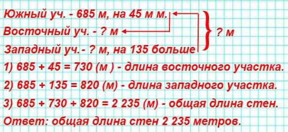 173. Стена Московского Кремля состоит из трёх участков: южного, восточного и западного. Длина южного участка составляет 685 м, что на 45 м меньше длины восточного.