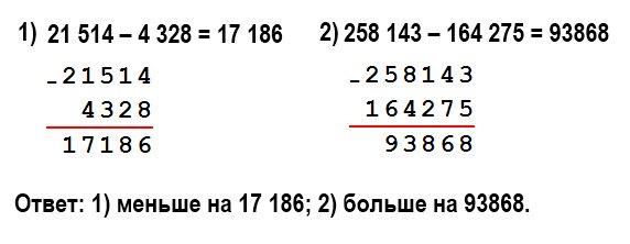 199. На сколько: 1) число 4 328 меньше, чем число 21 514; 2) число 258 143 больше, чем число 164 275?