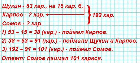 211. Щукин, Карпов и Сомов отправились на рыбалку. Вместе они поймали 192 карася, причём Щукин поймал 53 карася, что на 15 больше, чем поймал Карпов. Сколько карасей поймал Сомов?