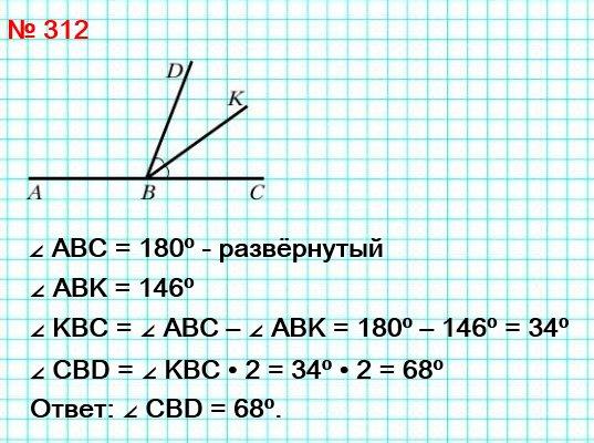 312. Луч BK является биссектрисой угла CBD, ∠ABK = 146° (рис. 101, a). Вычислите градусную меру угла CBD.