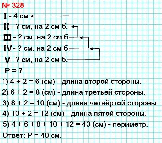 328. Стороны пятиугольника пронумеровали. Первая сторона равна 4 см, а каждая следующая сторона на 2 см длиннее предыдущей. Вычислите периметр пятиугольника.