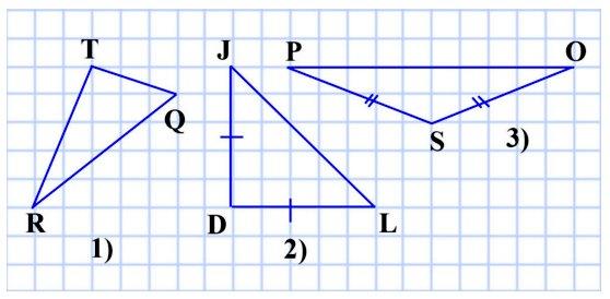 339. Начертите:  разносторонний остроугольный треугольник; равнобедренный прямоугольный треугольник; равнобедренный тупоугольный треугольник.