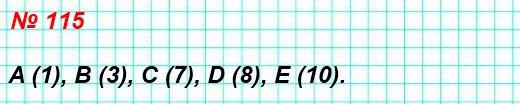 115. Найдите координаты точек А, В, С, D, Е на рисунке 55.