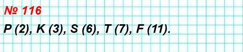 116. Найдите координаты точек P, K, S, T, F на рисунке 56.