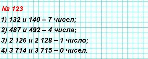 123. Сколько натуральных чисел расположено на координатном луче между числами: 1) 132 и 140