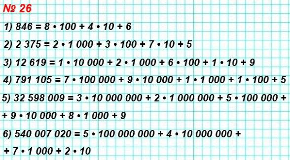 26. Запишите в виде суммы разрядных слагаемых число: