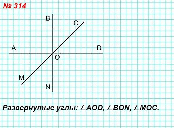 314. Проведите три прямые, пересекающиеся в одной точке. Запишите все развёрнутые углы, образовавшиеся при этом.
