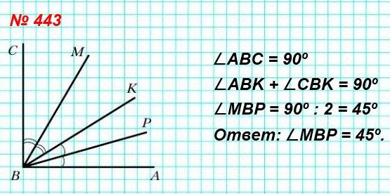 443. Угол ABC – прямой, луч BP – биссектриса угла ABK, луч BM – биссектриса угла CBK (рис. 145). Какова градусная мера угла MBP?
