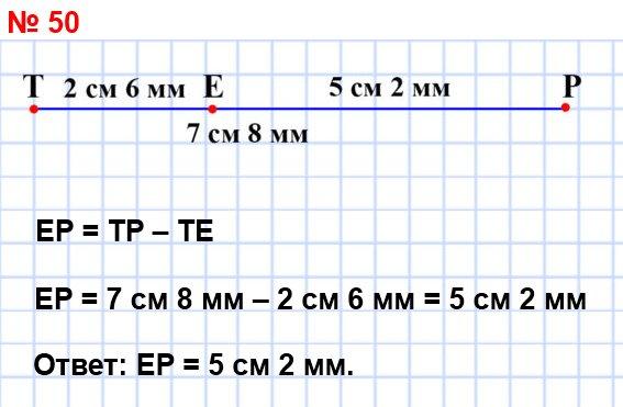 50. Начертите отрезок ТР, длина которого равна 7 см 8 мм. Отметьте на нём точку Е так, чтобы ТЕ = 2 см 6 мм. Какова длина отрезка ЕР?