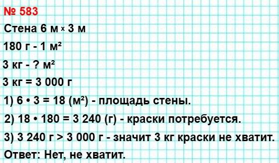 583. Расход эмалевой краски на однослойное покрытие составляет 180 г на 1 м². Хватит ли 3 кг эмали, чтобы покрасить стену длиной 6 м и высотой 3 м?