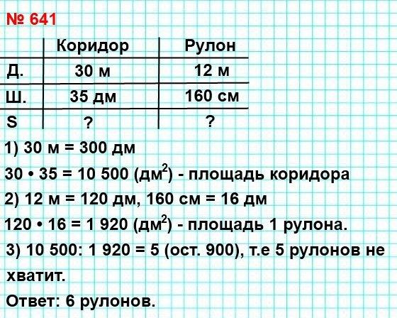 641. В школьном коридоре, длина которого равна 30 м, ширина – 35 дм, надо заменить линолеум. Какое наименьшее количество рулонов линолеума для этого нужно, если длина рулона линолеума равна 12 м, а ширина – 160 см?