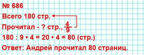 686. Андрей прочитал 4/9 книги, в которой 180 страниц. Сколько страниц прочитал Андрей?