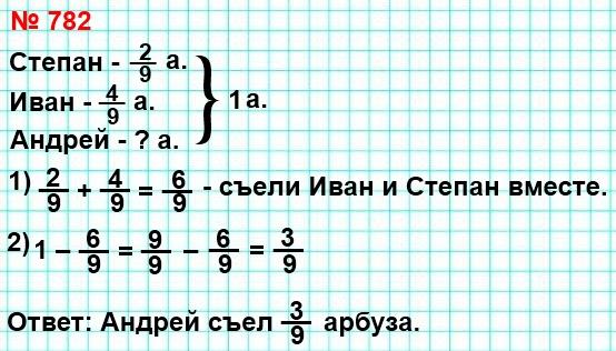 782. Степан, Иван и Андрей съели арбуз. Степан съел 2/9 арбуза, Иван – 4/9. Какую часть арбуза съел Андрей?
