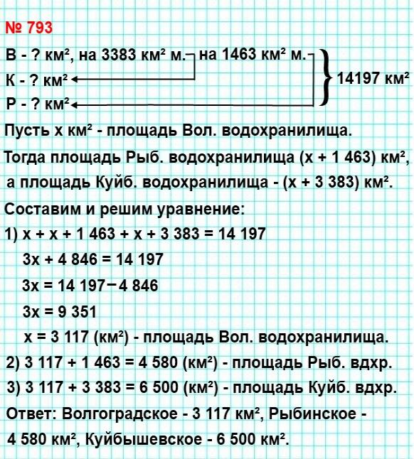 793. Общая площадь трёх крупнейших волжских водохранилищ Куйбышевского, Рыбинского и Волгоградского составляет 14 197 км².