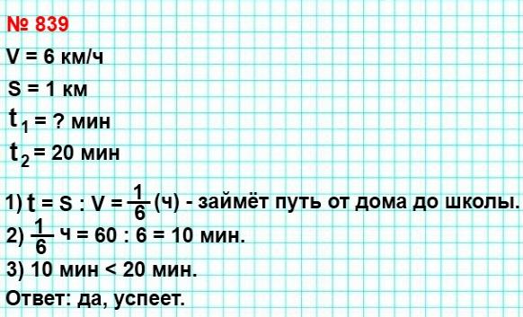 839. Максим спешит в школу и идёт со скоростью 6 км/ч. Успеет ли Максим дойти до школы за 20 мин, если его дом находится на расстоянии 1 км от неё?